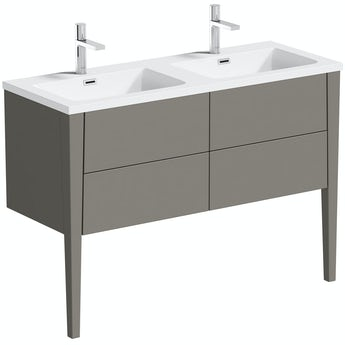 Mode Hale grey-stone matt wall hung double vanity unit and basin 1200mm