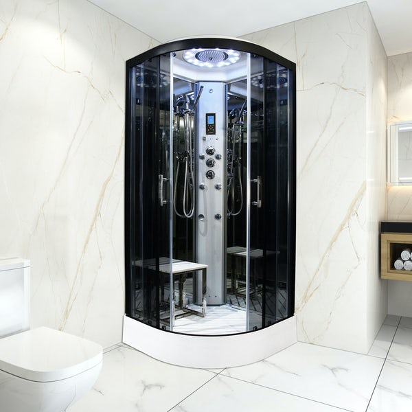 Insignia Platinum quadrant steam shower cabin with tinted glass 800 x 800