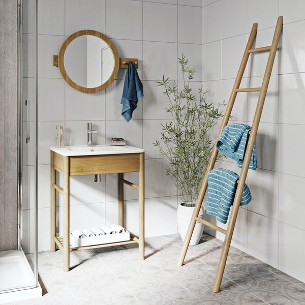 Mode South Bank natural wood furniture package with towel ladder