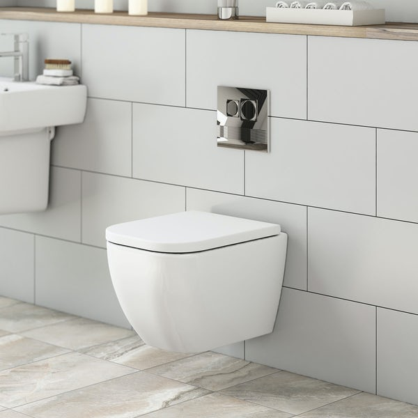 Mode Ellis short projection wall hung toilet with soft close seat and wall mounting frame with push plate cistern