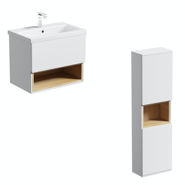 Mode Tate white & oak wall hung vanity unit and ceramic basin 600mm with storage unit set