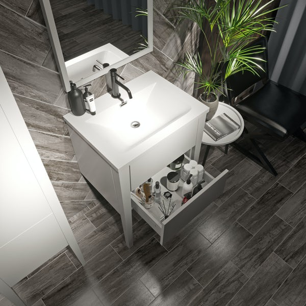Mode Hale white gloss vanity unit and basin 600mm