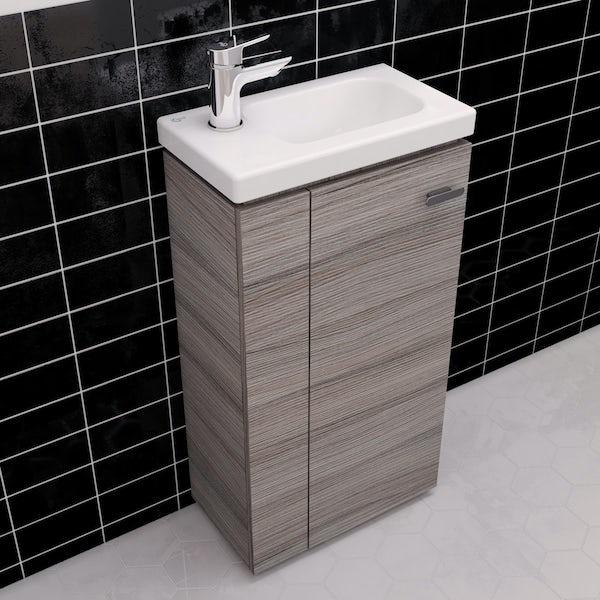 Ideal Standard Concept Space elm floor standing vanity unit and left handed basin 450mm