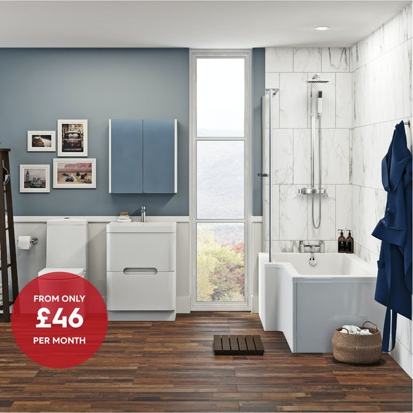 Mode Tate left hand shower bath 1700 x 850 suite with Ellis white floor drawer unit