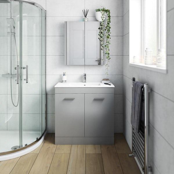 Orchard Odessa gloss grey floorstanding vanity unit and ceramic basin 800mm