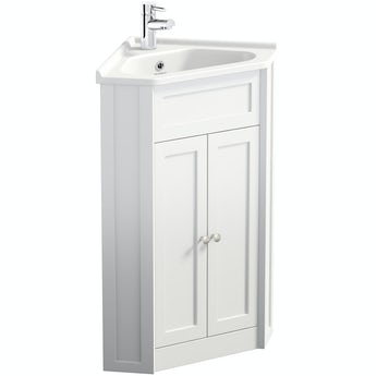 The Bath Co. Camberley white corner floorstanding vanity unit and ceramic basin 580mm