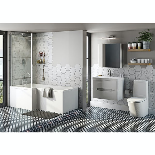 Mode Tate left hand shower bath 1700 x 850 suite with white wall hung unit 800mm