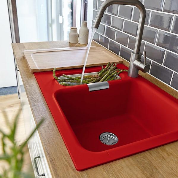 Rangemaster Schock Wembley 1.0 bowl red inset kitchen sink