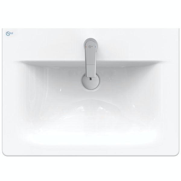 Ideal Standard Concept Air wood light grey vanity unit and basin 600mm