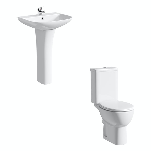 Orchard Elena cloakroom suite with full pedestal basin 550mm