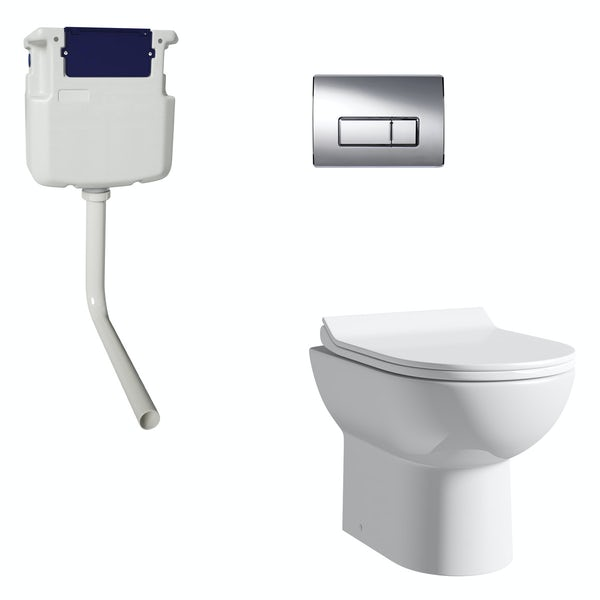 Orchard Eden contemporary back to wall toilet with soft close seat, concealed cistern and push plate