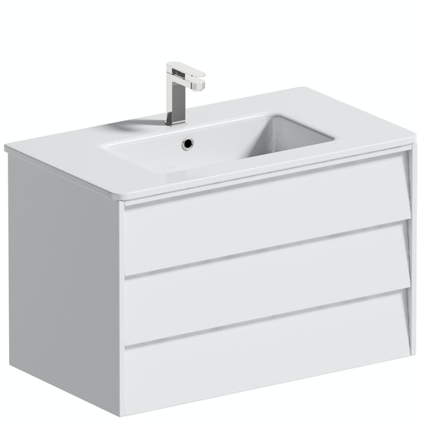 Mode Cortona white 800mm wall hung vanity unit and basin