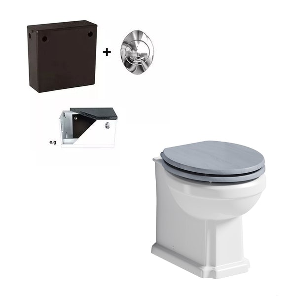 The Bath Co. Traditional back to wall toilet with Beaumont powder blue toilet seat and concealed cistern