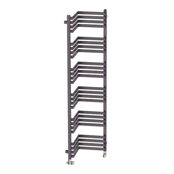 Incorner modern grey heated towel rail 1545 x 350