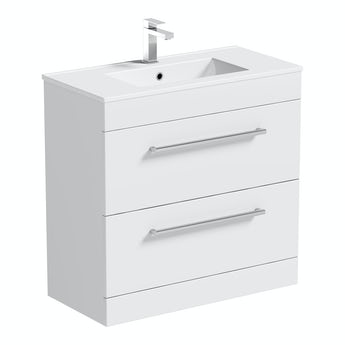 Orchard Derwent white floorstanding vanity unit and ceramic basin 800mm