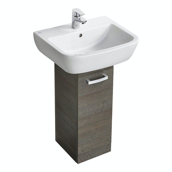 Ideal standard tempo sandy grey pedestal unit with basin for Ideal standard diagonal