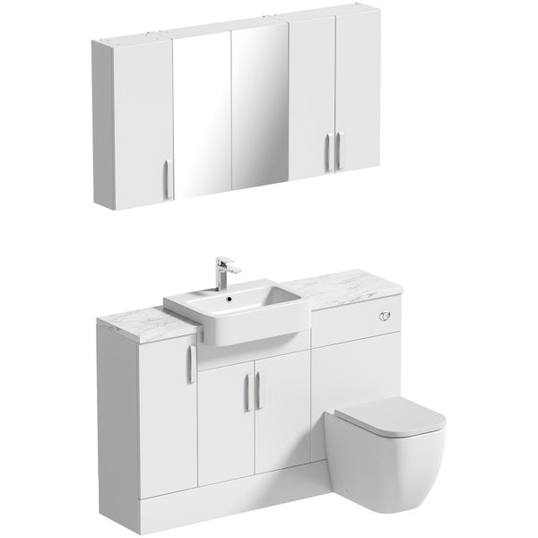 Mode Nouvel gloss white small fitted furniture & storage combination with white marble worktop