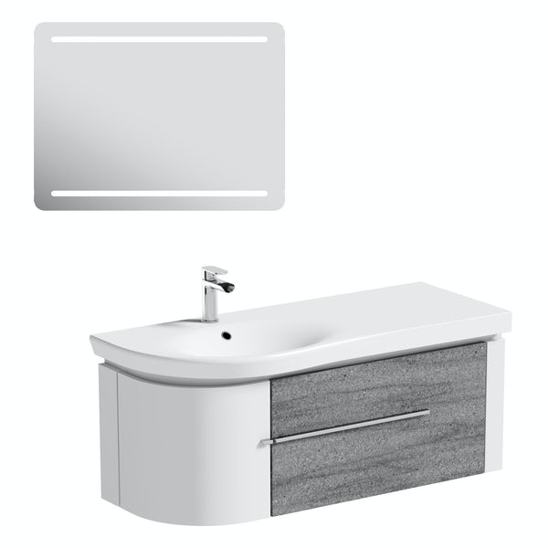 Mode Burton ice stone wall hung vanity unit 1200mm & LED mirror offer