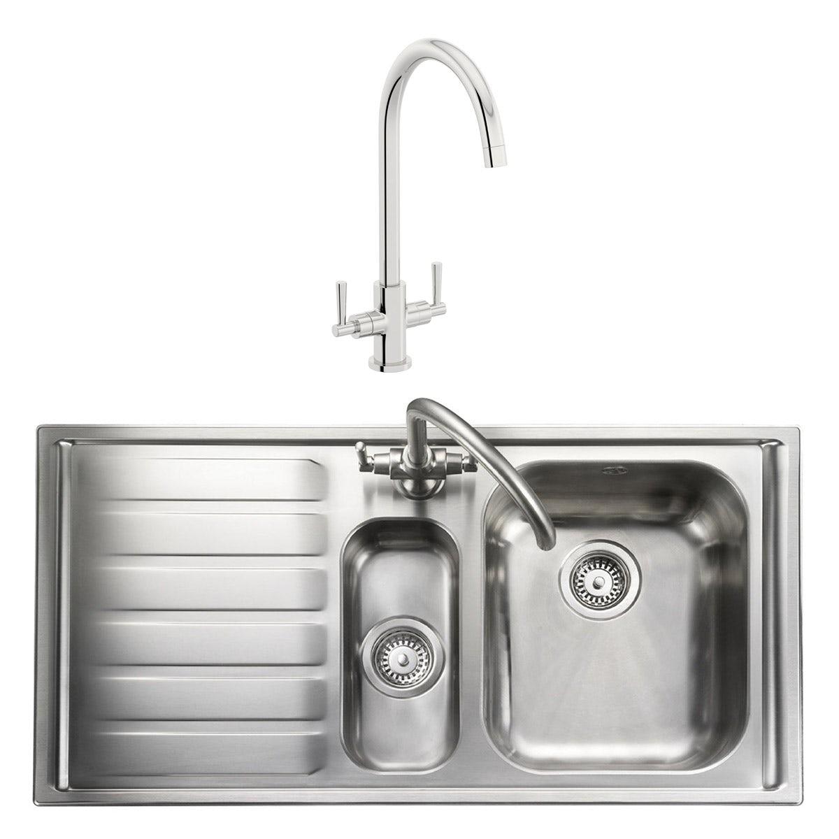 Rangemaster Manhattan 1 5 Bowl Left Handed Kitchen Sink With Waste Kit And Schon C Spout Wras Kitchen Tap Victoriaplum Com