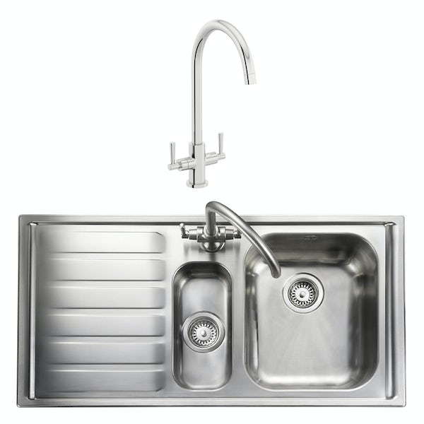 Rangemaster Manhattan 1.5 bowl left handed kitchen sink with waste kit and Schon C spout WRAS kitchen tap