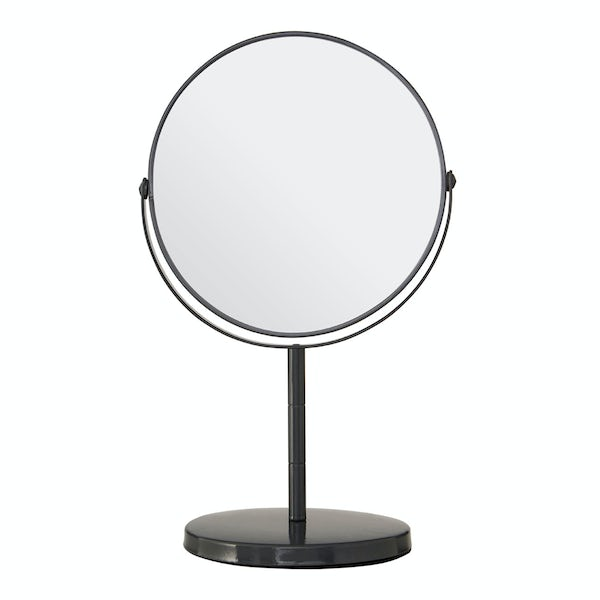 Grey large freestanding vanity mirror with 2x magnification