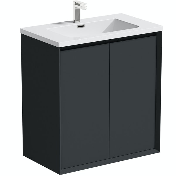 Mode Larsen grey gloss floorstanding vanity unit and basin 800mm