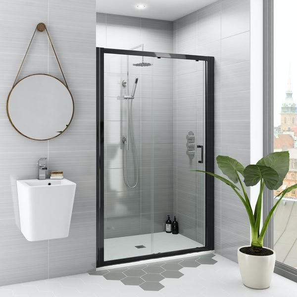 Mode black 6mm sliding shower door with white slate effect tray 1200 x 800