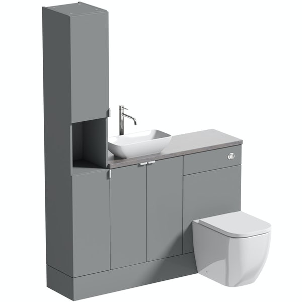 Reeves Wyatt onyx grey tall fitted furniture combination with mineral grey worktop and countetop basin