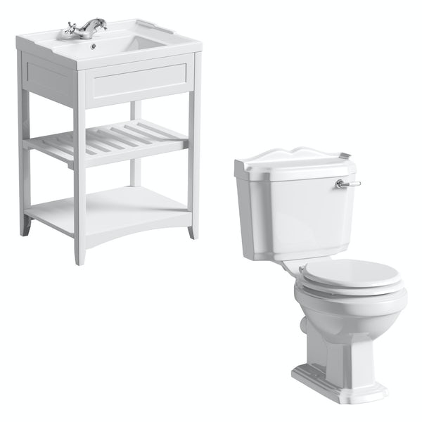 The Bath Co. Winchester and Camberley white washstand suite 600mm