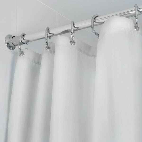 Croydex plain white textile shower curtain