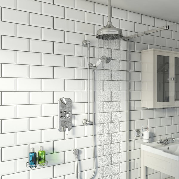 The Bath Co. Camberley concealed thermostatic mixer shower with ceiling arm and slider rail