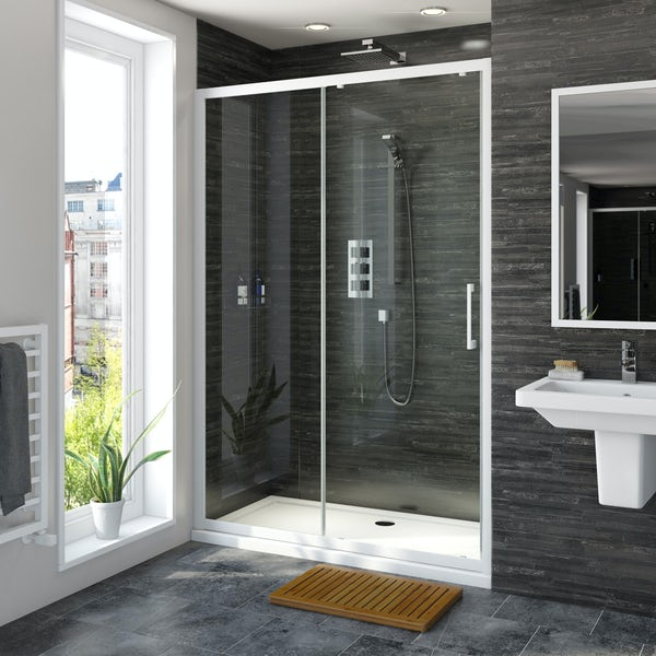 Mode 8mm matt white framed sliding shower door 1200mm
