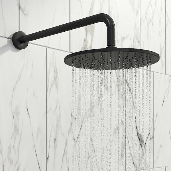 Mode 8mm black framed wet room glass panel with walk in shower tray and twin valve matt black shower set
