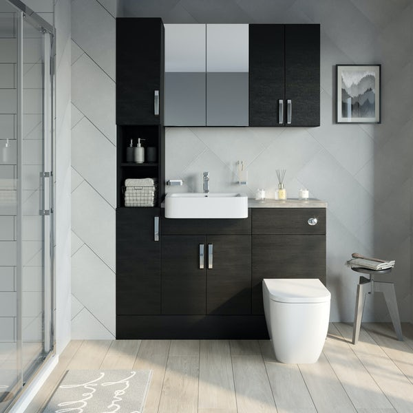 Reeves Nouvel quadro black tall fitted furniture & storage combination with mineral grey worktop