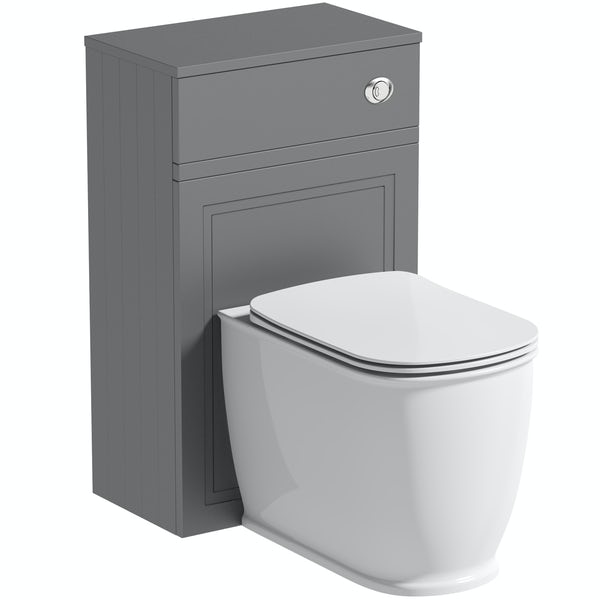 The Bath Co. Chartham slate grey back to wall unit and Beaumont toilet with soft close seat