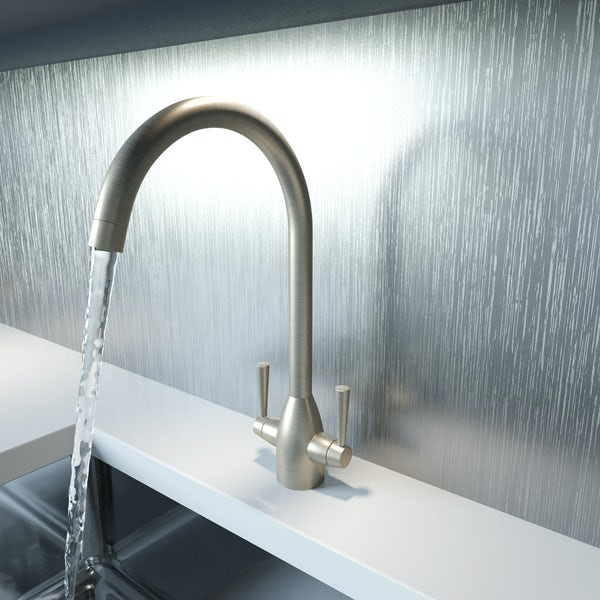 Schön brushed nickel kitchen tap