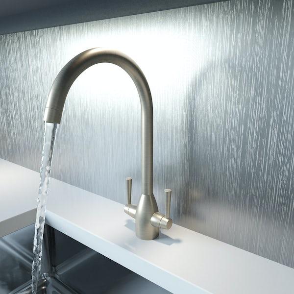Schön brushed nickel kitchen tap