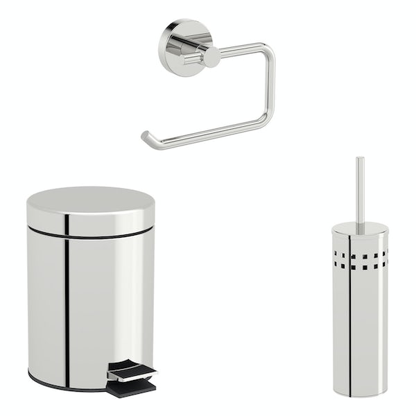 Accents Options round toilet accessories set with 3 litre bin