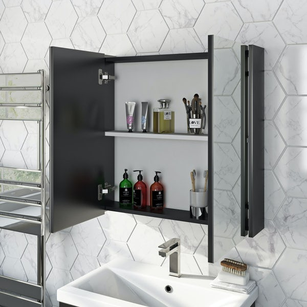 Mode Tate Anthracite Mirror Cabinet 650mm Victoriaplum Com