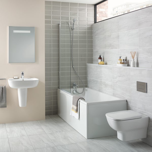 Ideal Standard Studio Echo straight bath suite with semi pedestal basin 1700 x 700