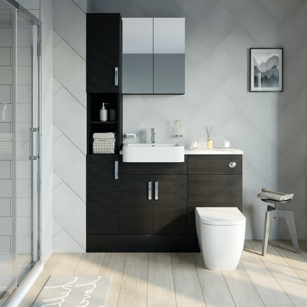 Reeves Nouvel quadro black tall fitted furniture & mirror combination with white marble worktop