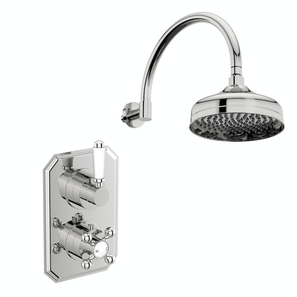 The Bath Co. Camberley concealed thermostatic mixer shower with wall arm