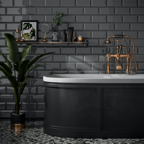 Metro Dark Grey Bevelled Gloss Wall Tile 100mm X 200mm