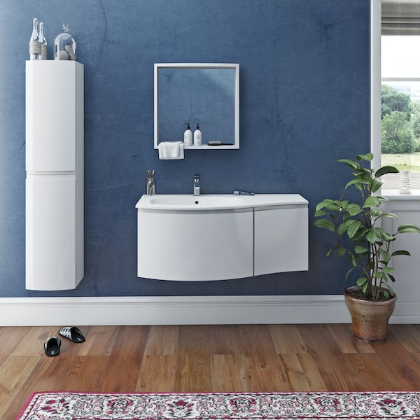 Mode Harrison snow furniture package with left handed wall hung vanity unit 1000mm