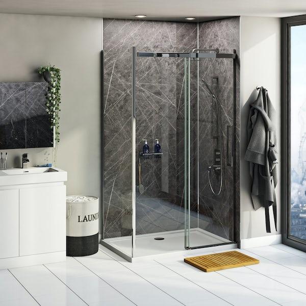 Multipanel Linda Barker Ferro Grafite shower wall panel corner installation pack 1200 x 1200