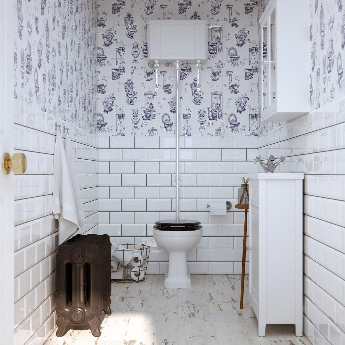 British Ceramic Tile Metro Bevel White Gloss Tile 100mm X