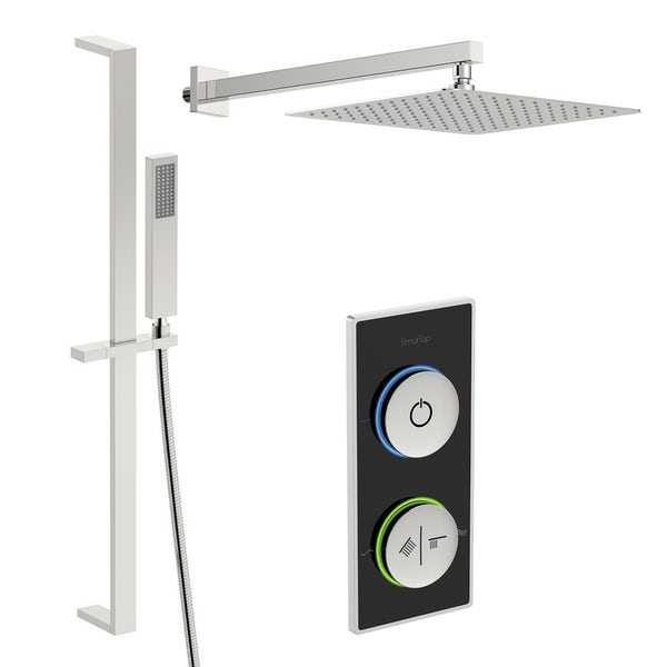 SmarTap black smart shower system with square slider rail and wall shower set