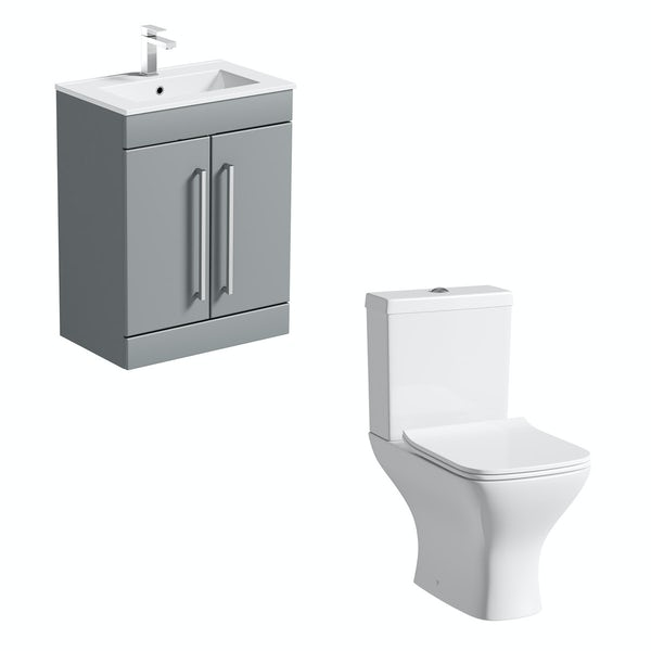 Orchard Derwent square compact close coupled toilet and stone grey vanity unit suite 600mm