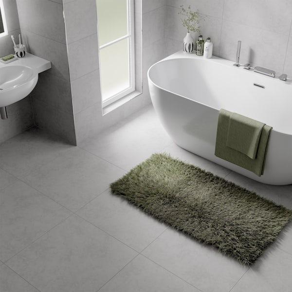 Volta white stone effect flat matt wall and floor tile 600mm x 600mm