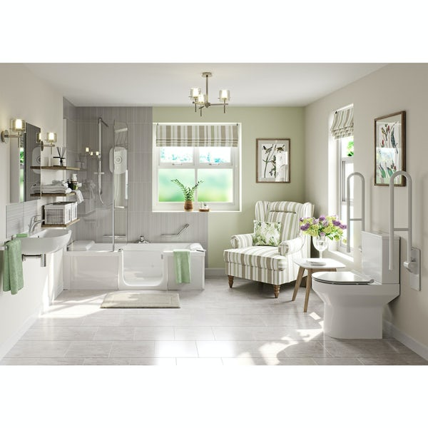 Kineduo independent living right handed complete shower bath suite 1700 x 750